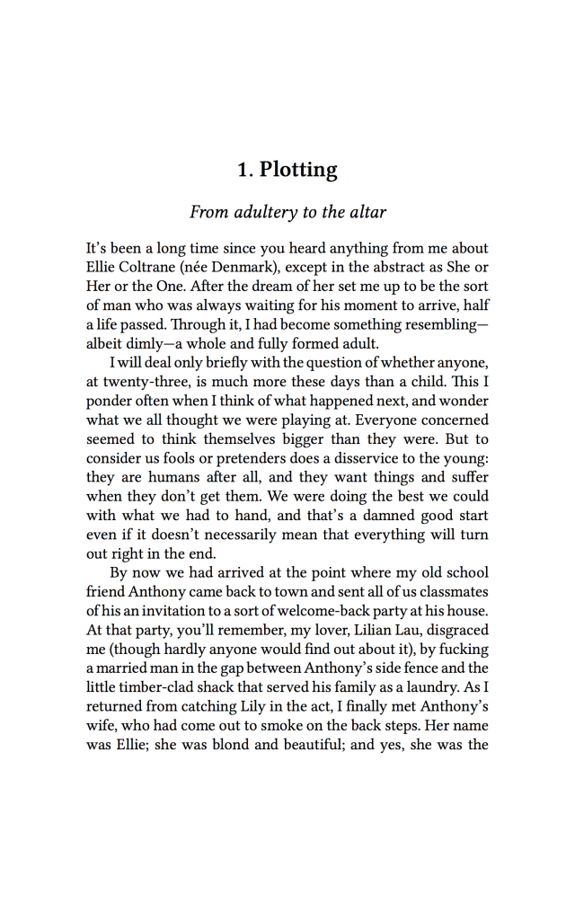 The first page of Seize the Girl, in the version for beta readers.