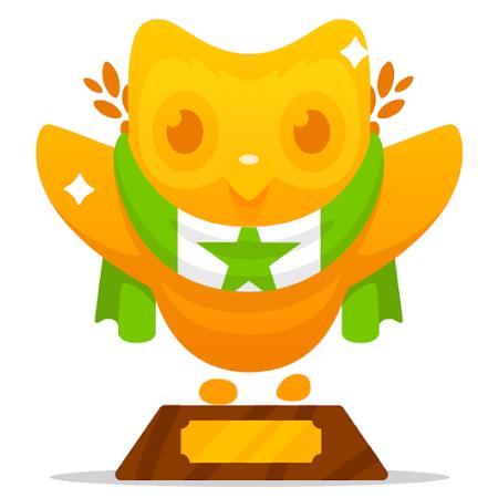 Duolingo's golden owl for Esperanto